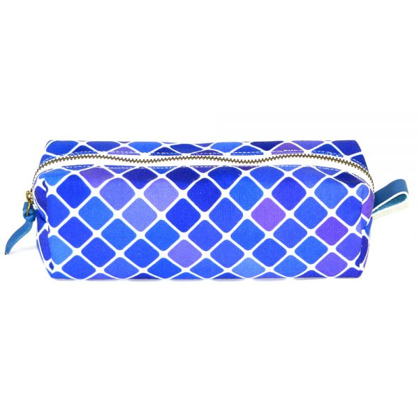 design and buy your own custom printed canvas pencil case with zipper and leather trims online