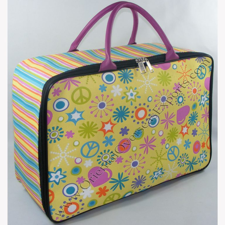 Elegant looking Custom Printed Canvas Toy Bag - Suitcase with Genuine Leather Handles along with Soft Padding and luxury Satin Lining inside + Plastic Foots on the bottom