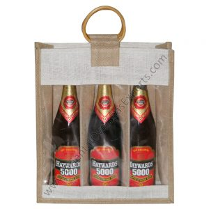 design and buy your own custom printed three bottle wine bags with window and wooden cane handles online at factory prices