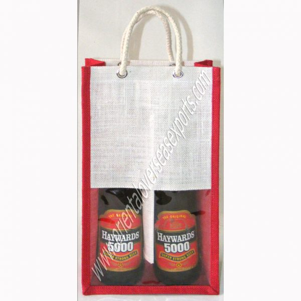 design and buy your own custom printed two bottle wine bags with window and rope handles online at factory prices