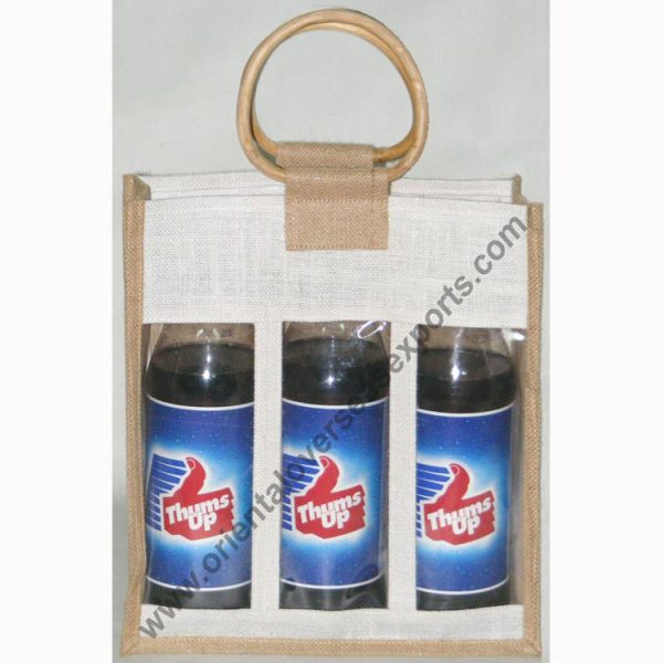 design and buy your own custom printed three bottle wine bags with wooden cane handles online at factory prices