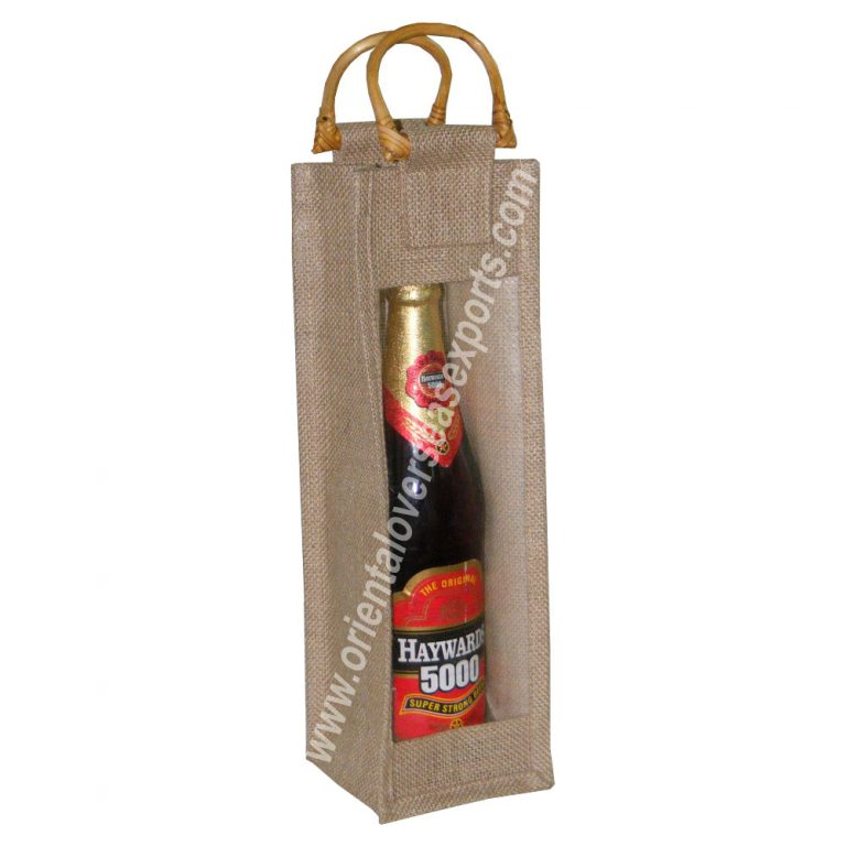 design and buy your own custom printed wine bags with window and wooden cane handles online at factory prices