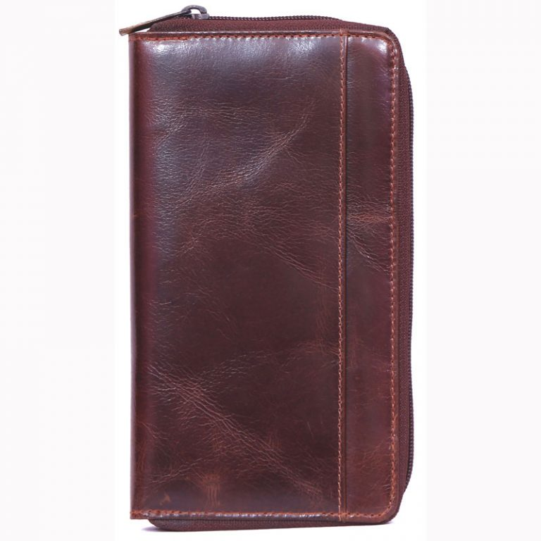 buy custom embossed VT leather purse with multiple card and currency slots online