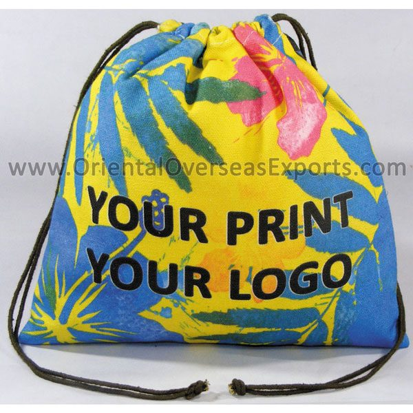 Fully Printed Canvas Drawstring Pouch # 2445 made from 10Oz - 280GSM Recycled Canvas