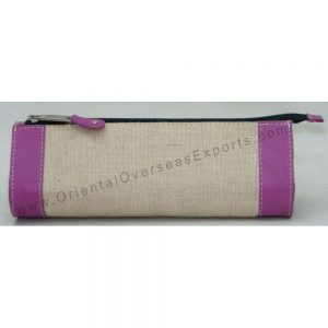 design and buy jute cotton pencil case with real leather trims online
