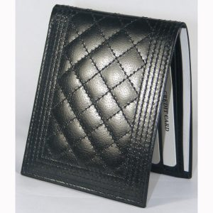 Quilted Leather Wallets, Model # T2-451, made from Genuine Shiny Cow Aniline Leather.
