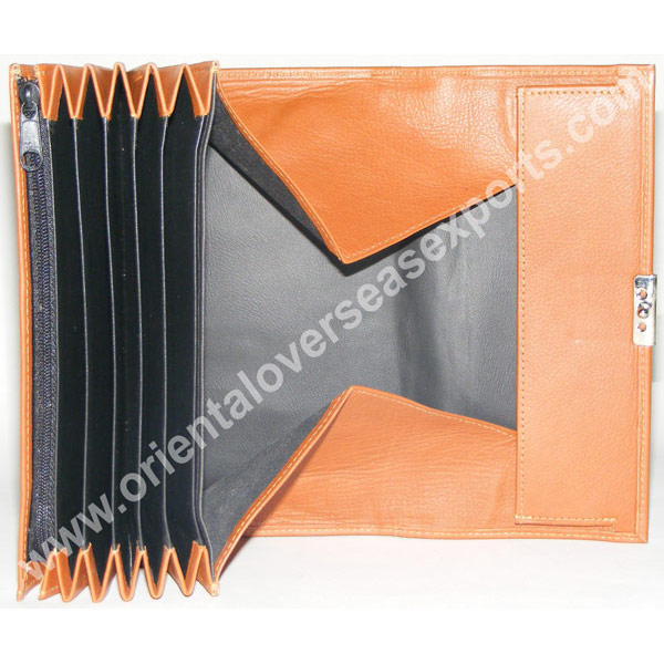 design and buy custom branded real leather waiters purse with multiple currency slots online