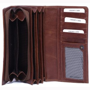 design and buy custom engraved real Brown VT leather hand purse with multiple card and currency slots online