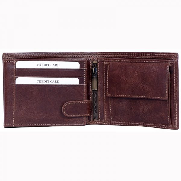 design and buy custom embossed or engraved real Brown VT leather wallet with multiple card and currency slots online