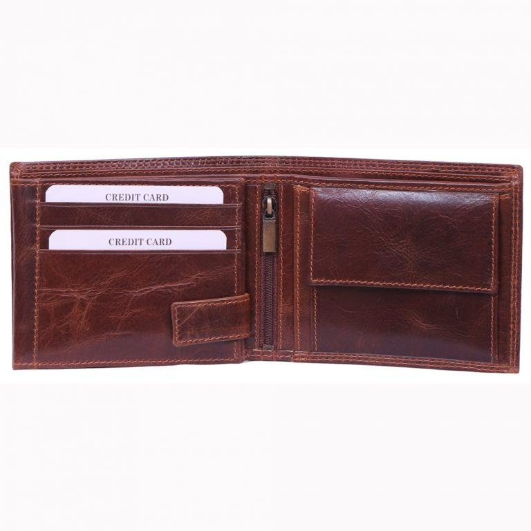 design and buy custom embossed real Brown VT leather wallet with multiple card and currency slots online