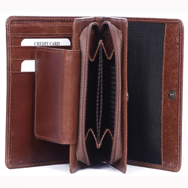 open look of custom engraved real Brown VT leather lady hand purse with multiple card and currency slots