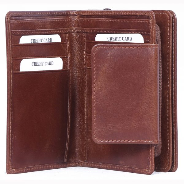 design and buy custom engraved real Brown VT leather lady purse with multiple card and currency slots online
