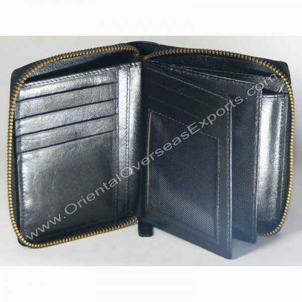 design and buy custom embossed real Black Shiny VT zipper leather wallet with multiple card and currency slots online