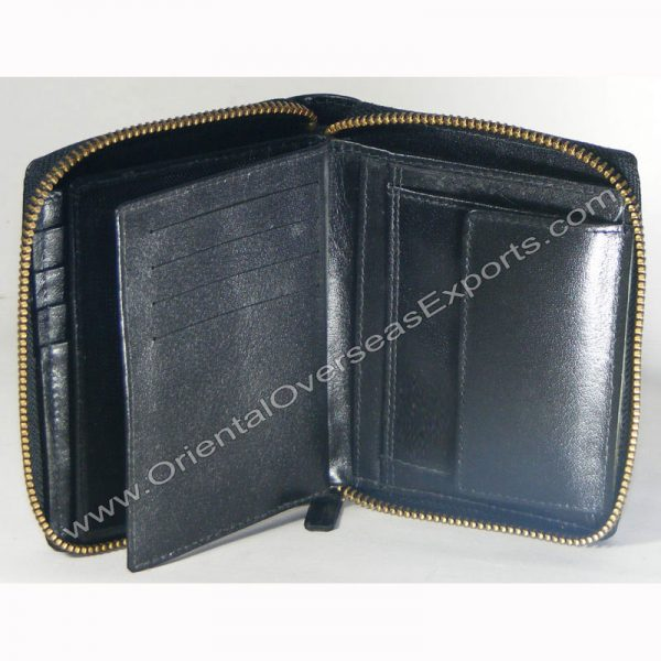 Custom Embossed Real Leather Zipper Wallet # T2-436 with multiple card and currency slots