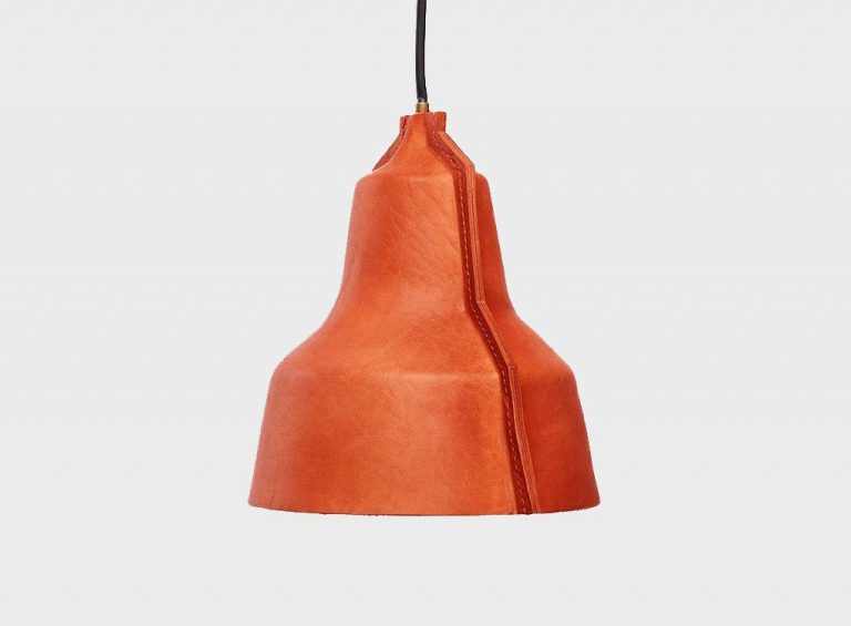 hand made real leather lamp made from genuine buffalo leather in tan color