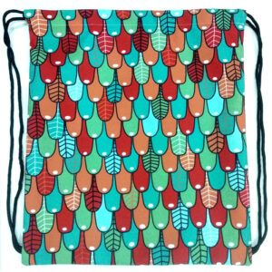 large multicolor canvas drawstring bag
