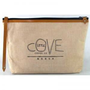 design and buy jute cotton toilet bag with real leather handle and trims online