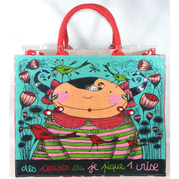 printed jute bag