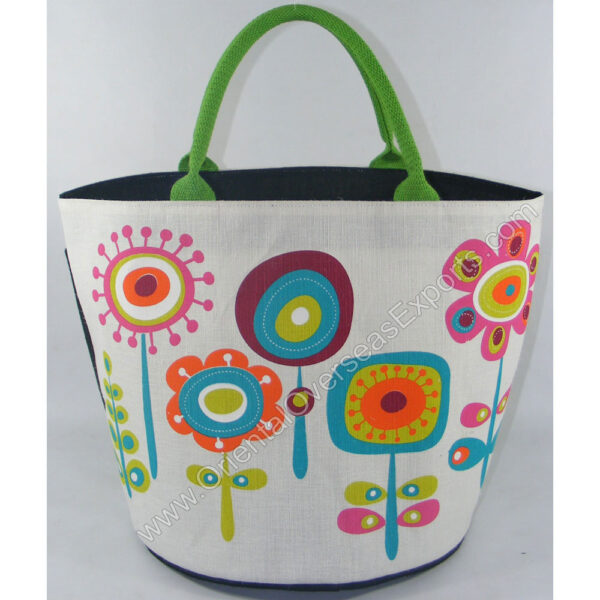 Elegant looking printed juco bag - made from Dyed Jute Cotton Fabric with lamination inside.