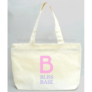 Natural Canvas Bag with Zip made from 6 Ounce - 168 GSM Natural Cotton Fabric with 2 color screen printing in your required artwork