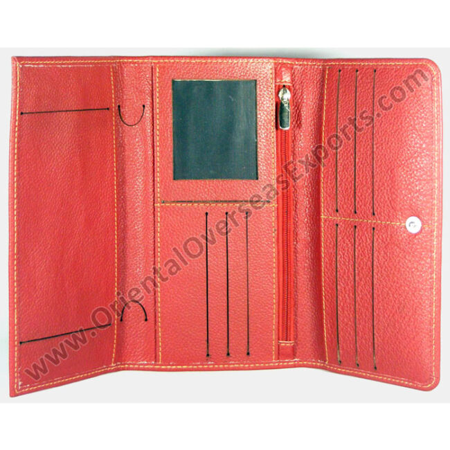 Real Leather Checkbook Holder made from Cow Printed Dry Milled Leather