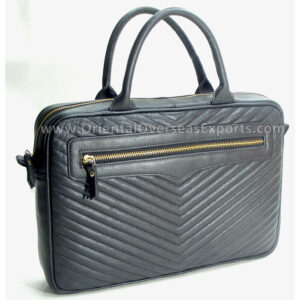 Quilted Leather Laptop Bag # GN5010 made from Genuine Cow Leather