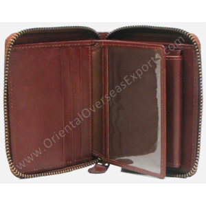 RFID protected leather zipper wallet