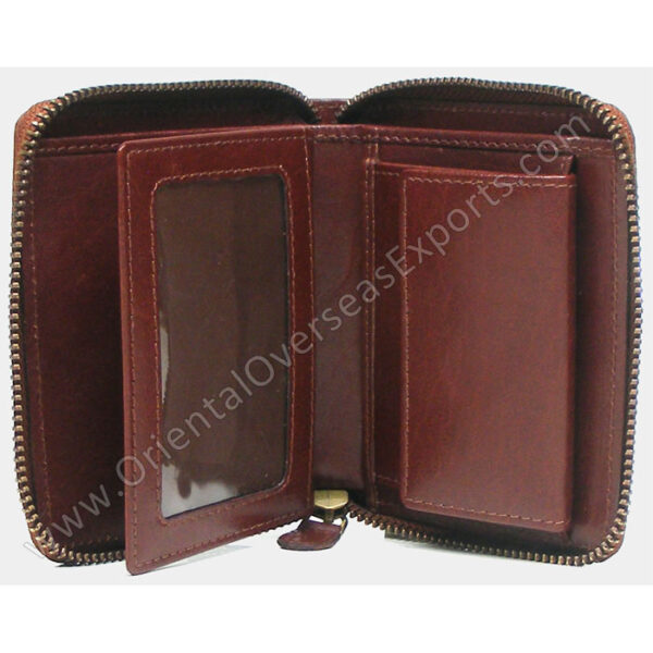 RIFD protected leather zipper wallet